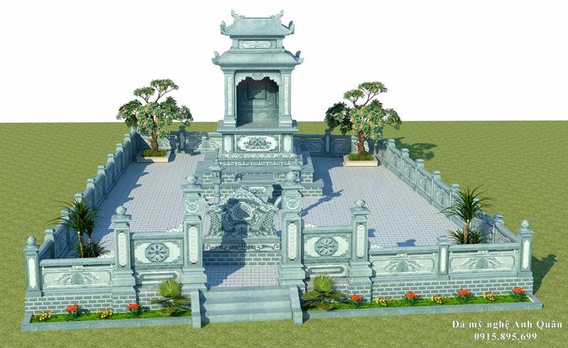 Mẫu Thiết kế Lăng mộ đá xanh rêu đẹp hai mái Anh Quân cho Lăng mộ Nguyễn Trần Nam Định.