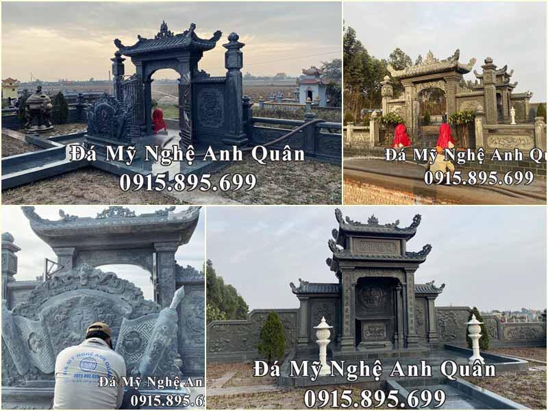 Mẫu Lăng mộ đá xanh rêu tại Ý Yên, Nam Định - Khu Lăng mộ khẳng định đẳng cấp, thương hiệu của ĐÁ MỸ NGHỆ ANH QUÂN.