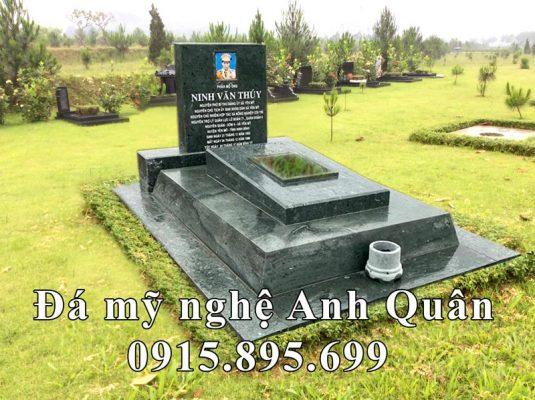 Mẫu Mộ đá đẹp - Mộ đá xanh rêu Anh Quân tại Hoa viên nghĩa trang!